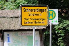 Ortsschild Schneverdingen , Snevern - Stadt Schneverdingen Landkreis Heidekreis.