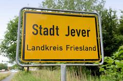 Ortsschild Stadt Jever, Landkreis Friesland.