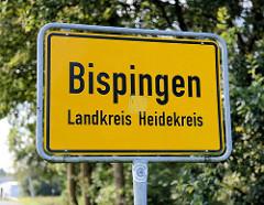 Ortsschild Bispingen, Landkreis Heidekreis.