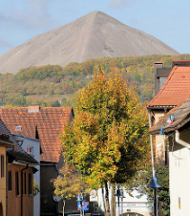 Häuser der Stadt Sangerhausen - Blick auf die Abraumhalde Hohe Linde.