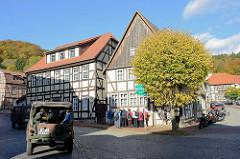 Historische Wohnhäuser / Fachwerkgebäude, Kaltes Tal in Stolberg, Harz.