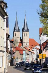 Blick zur gotischen Jacobi Kirche in Mühlhausen, erbaut ab der 2. Hälfte des 13. Jhd. Profanierung 1832 - jetzt Nutzung als Stadtbibliothek.