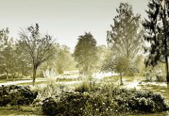 Blick auf das LNS Gelände / Landesausstellung Natur im Städtebau ´94 in Duderstadt - Morgenlicht im Park.