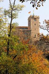 Blick durch Herbstbäume zum  Hauptturm der Wartburg / Bergfried mit dem vergoldeten Kreuz.