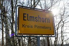 Stadtgrenze von Elmshorn / Kreis Pinneberg - Ortsschild.