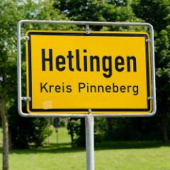 Ortsschild Hetlingen, Kreis Pinneberg.