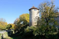 Historische Stadtbefestigung des Mittelalters am Hirschgraben in Mühlhausen - Wehrturm.