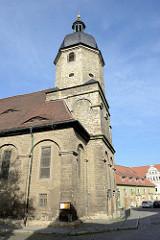 Blick auf die St. Othmar Kirche in Naumburg.  Das Kirchengebäude wurde im Stil des Frühbarock 1699 fertig gestellt.