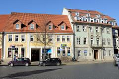 Wohnhäuser / Geschäftshäuser am Untermarkt in Mühlhausen, Thüringen.