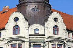 Detailaufnahme vom Hansahaus am Wieland Platz in Weimar, Jugendstilarchitektur - erbaut 1905