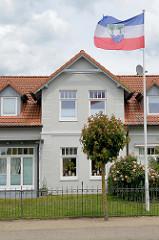 Wohnhaus in Hetlingen - wehende Fahne mit dem Wappen der Haseldorfer Marsch / Schachbrettblume (Schachblume) im Wind.