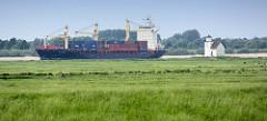 Blick über das Elbvorland an der Hetlinger Schanze - Frachtschiff mit Container, Leuchtfeuer Julesand.