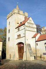 Das Marientor in Naumburg (Saale) ist Teil der ehemaligen historische Stadtbefestigung - erbaut 1446. Im 16. bis zum 19. Jahrhundert wurde die Anlage als Gefängnis genutzt.