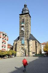 Evangelische Margarethenkirche am Neumarkt in Gotha, die spätgotische Hallenkirche zählt zu den ältesten Gebäuden der Stadt.