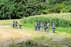 Radweg / Feldweg mit FahrradfahrerInnen am Rand eines Maisfeldes beim Weyerberg in Worpswede.