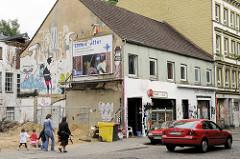 Abrisshaus in einer Seitenstraße von Hamburg St. Pauli.