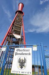 Oberfeuer Preußeneck, Leuchtfeuer in Eckwarderhörne / Budjadingen. Der Leuchtturm wurde 1962 in Betrieb genommen und 2012 abgeschaltet - aufgrund seiner einzigartigen Bauform ist der über 40m hohe Turm ein Denkmal.
