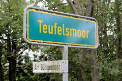 Ortschild Teufelsmoor - Straßenschild am Günnemoor bei Worpswede.