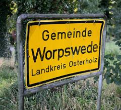 Ortsschild der Gemeinde Worpswede / Landkreis Osterholz.