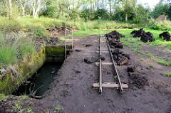 Rekonstruktion vom ehemaligen Torfabbau mit Gleisanlagen für die Torfbahn mit Loren im Teufelsmoor bei Worpswede.