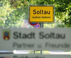 Ortsschild / Stadtgrenze der Stadt Soltau, Landkreis Heidekreis.