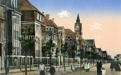 Historische Ansicht der Prinz Heinrichstraße in Wilhelmshaven - im Hintergrund der Kirchturm der St. Willehadkirche
