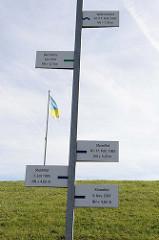 Anzeigetafeln über die Höhe der letzten Sturmfluten bei Burhave / Nordsee.