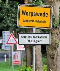 Ortsschild Worpswede, Landkreis Osterholz - staatlich anerkannter Erholungsort.