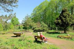 Holzbank / Ruhebank in der Sonne - Blick auf Bäume im Hammer Park - im Hintergrund der Heckengarten.
