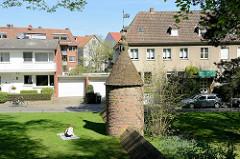 Sogen. Wasserbär im ehem. Stadtgraben von Münster - das Wehr glich die Wasserstände im Wassergraben der Stadtbefestigung aus.