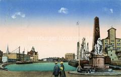 Historische colorierte Ansicht vom Hafen in Münster - Speichergebäude und Binnenschiff - Denkmal eines Seemanns in Ölzeug.