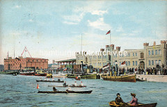 Historische Ansicht vom Hafen in Münster - Ausflugsboote, Ruderboote.
