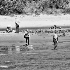 Strandszene am Elbufer in Hamburg Rissen - Hunde spielen am Wasser, ein Angler geht in seiner Wathose zu seinem Angelplatz.