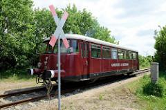 Triebwagen Fridolin, ehem. Wartungswagen der HPA - jetzt Museumszug vom Hamburger Hafenmuseum - Standort Hansahafen.