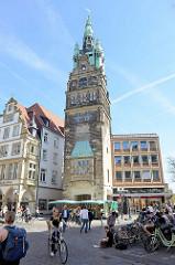 Stadthausturm am Prinzipalmarkt in Münster - Teil des ehem. Stadthauses, erbaut 1907 - Entwurf Alfred Hensen.