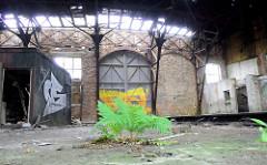 Türen - teilweise zugemauert - eines Ringschuppens der Eisenbahn; das Dach des Lokschuppens ist stark verfallen. Farn wächst aus dem Betonboden.