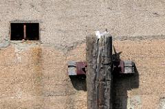 Alter vermoderter Streichdalben an einer Hauswand am Billbrookkanal im Hamburger Stadtteil Billbrook; eine Möwe brütet auf dem Dalben.