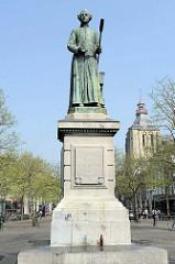 Bronzeskulptur / Denkmal Johannes Petrus Minckeleers in Maastricht, Wissenschaftler und Erfinder des Leuchtgases und Gaslampe.