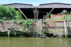 Alter Hafenkai im Hamburger Hafen; die Kaianlage verfällt, Wildkraut / Unkraut wuchert aus den Mauerritzen.