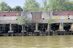 Durch Niedrigwasser freigelegte Kaimauer im Moldauhafen - Hamburg Kleiner Grasbrook; die Betonstützen der Kaianlage ruhen auf einer Holzkonstruktion.