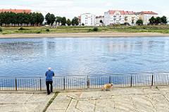 Uferpromenade an der Oder bei Frankfurt, ein Spaziergänger mit Hund blickt auf das Wasser - am anderen Flussufer Wohngebäude von Słubice.