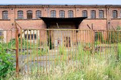 Alte Industriearchitektur in der Bachgasse von Frankfurt/Oder; verrostetes eisernes Tor-hohes Wildkraut.
