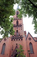 Ansicht der Sankt Gertraud Kirche in Frankfurt/Oder; Baubeginn der neogotischen Backsteinkirche war 1873 - Architekten Carl Christ und Wilhelm Kinzel. Die Kirche wurde 1878 eingeweiht