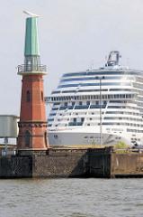 Historischer Leuchtturm auf dem Ellerholzhöft in Hamburg Steinwerder; die unter Denkmalschutz stehende Anlage steht zwischen den Hafenbecken Ellerholzhafen und Kaiser Wilhelm Hafen und wurde 1903 errichtet; 1969 wurde der Turm zur Radarbake umgebaut
