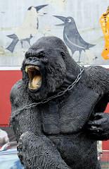 King Kong in Ketten - Gorilla als Kunststofffigur vor einer Videothek in Kiel; Raben sitzen auf der Schulter des brüllenden Menschenaffens.