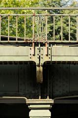 Brücke der Hochbahn an der Farmsener Landstraße in Hamburg Volksdorf; eisernes Brückengeländer mit Dekor.