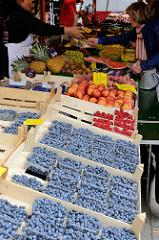 Marktstand auf dem Wochenmarkt  in Hamburg Sasel -  Stand mit Obst und Gemüse, Schalen mit norddeutschen Blaubeeren.