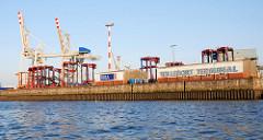Alte Ansicht vom Containerterminal Tollerort / Elbseite; Schuppen mit der Aufschrift Terminal Tollerort und HHLA (2009)