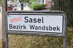Stadtteilschild  / Stadtteilgrenze Hamburg Sasel - Bezirk Wandsbek