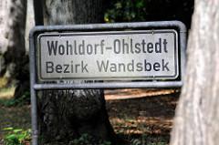 Stadtteilschild von Hamburg Wohldorf-Ohlstedt, Bezirk Wandsbek.